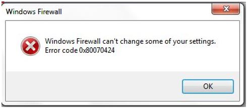 How to solve Windows Firewall Error Code 0x80070424