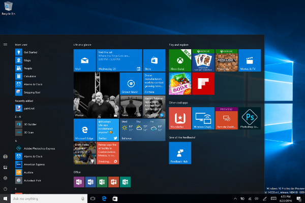Windows 10 Anniversary Update's Interface; Photo credits: Microsoft