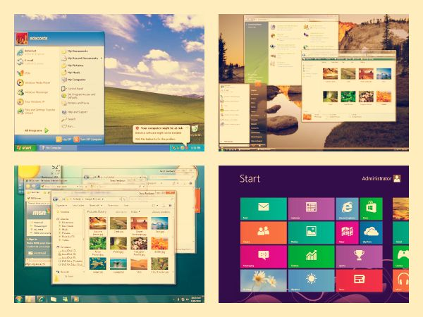 Desktops from Windows XP, Windows Vista, Windows 7 and Windows 8