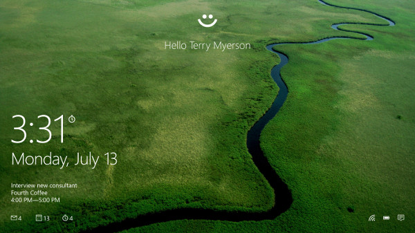 Windows 10's Windows Hello: Photo credits: Microsoft